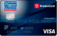 Logo Farmácias Pague Menos Cartão Pague Bradescard Menos Visa Internacional