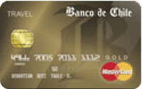 Logo Banco de Chile Travel Club Mastercard Dorada